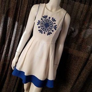 Sugarlips Ivory & Blue Print Dress (NWT)