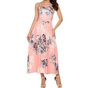 Floral Print Spaghetti Strap Maxi Dress w/ Pockets
