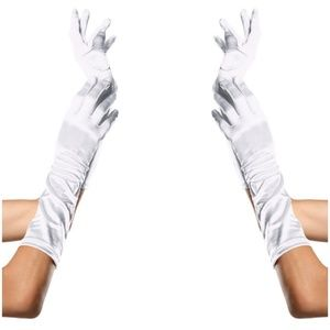 Cosplay Long Satin Gloves Halloween Costume White