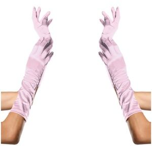 Cosplay Long Satin Gloves Halloween Costume Pink