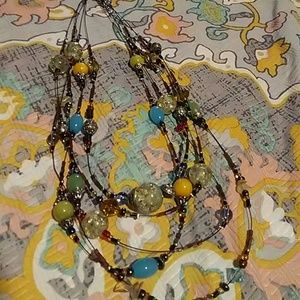 Multicolored and Multistrand Glass Beaded Necklace