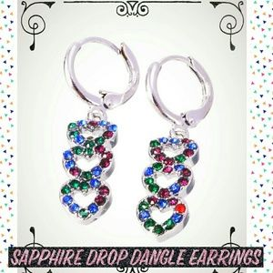 Silver Heart Color Sapphire Drop Dangle Earrings