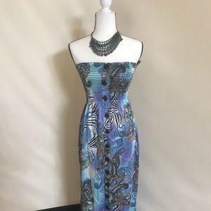 Caché Silky tube top maxi dress