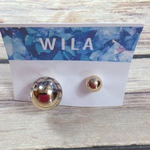 WILA gold double sided earrings