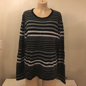 Gorgeous Designer Black Strip Knit Crew Sweater