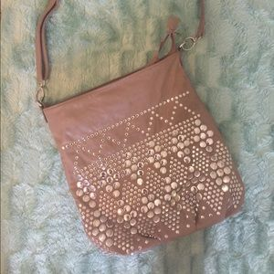Studded hobo style bag