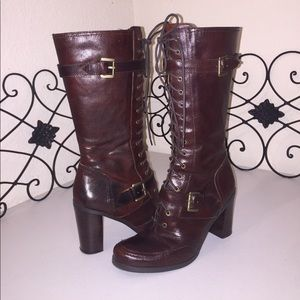 NINE WEST Leather Lace Up Boots