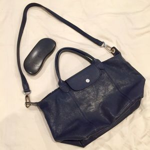 Longchamp Le Pilage Small Leather Satchel (Navy)