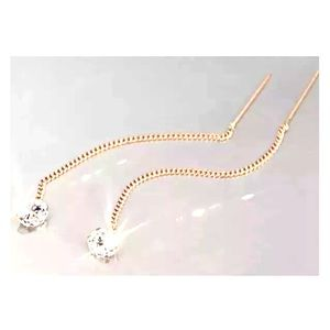 14k rose gold chain threader Earrings