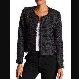 Joie black tweed striped open front jacket M