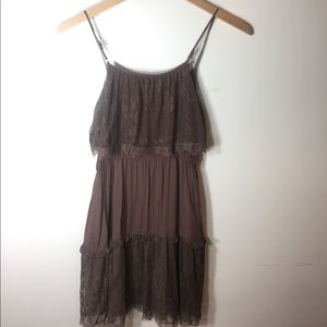 Flying Tomato brown dress with lace. Size small