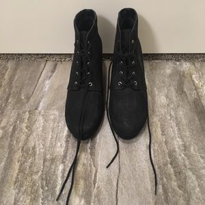 Forever 21 Black Suede Wedge Shoes
