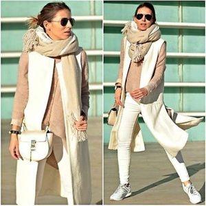 Zara White Textured Wool Waistcoat
