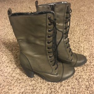 army green heeled boots