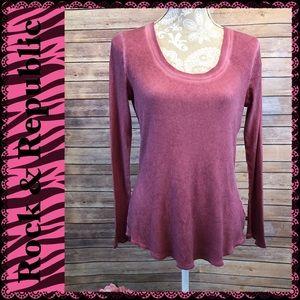 Long Sleeved Pink Rock & Republic Tee
