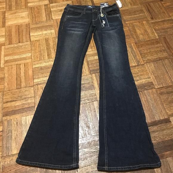 Style Denim - Distressed Rhinestone Bootcut Jeans Junior Size 1