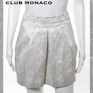 CLUB MONACO Wht/Silver Metallic Pleat Pocket Skirt