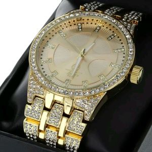 14K GOLD PLATED ICED OUT WATCH WATCH