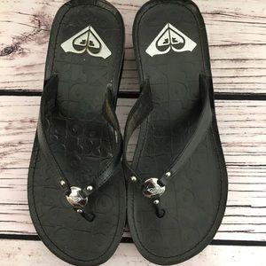 ROXY Black Wedge Flip Flops w/Silvertone Detail