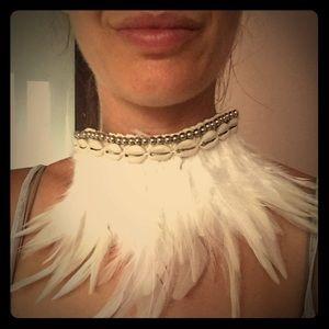 Gorgeous goddess feather choker abs head piece