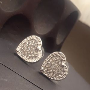 silver toned heart fashion earrings