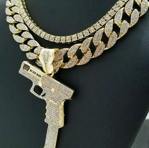 "37 Rip Mary Gun w/ 16"" Full Iced Cuban & 1Row link"
