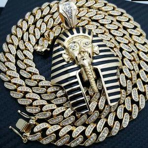 Egyptian Pharaoh Pendant & Iced out Miami cuban