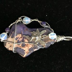 Purple Sea Stone and fury wrapped pendant