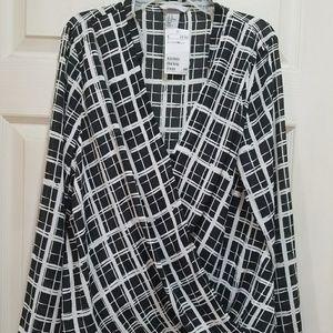 NWT H&M Drape front black and white plaid blouse