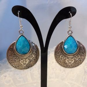 Silver Tone w Faux Turquoise Pierced Earrings