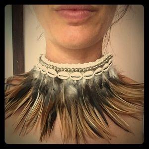 Gorgeous goddess feather shell choker/head piece