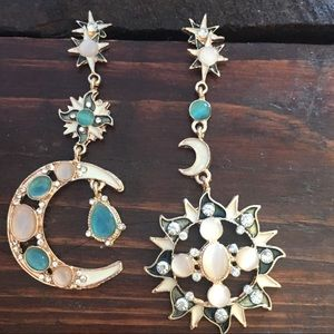 Moon And Sun Earrings. Pair.  Star.