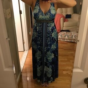 Petite Racerback Blue Floral Maxi Dress