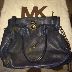 Michael kits navy blue distressed leather