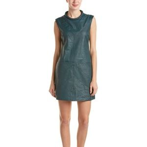 As by DF Genuine leather green dress & silk lining