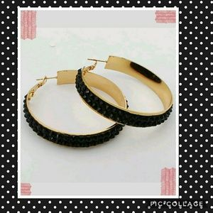 Ladys Gold Plated Big circle black hoop Earrings