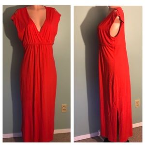 Coral/Orange Braided Waist Maxi Dress SZ LG