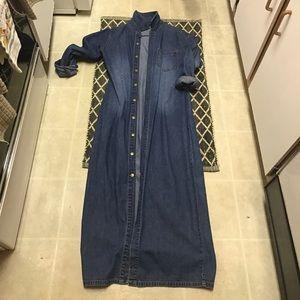 Long Denim Duster Cardigan Maxi Dress Size M