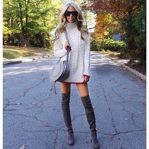 Zara Cable Knit Cream Chunky Sweater Turtleneck