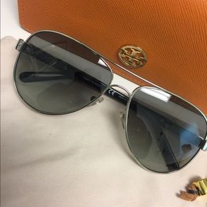 Authentic Tory Burch Silver/Grey Sunglasses
