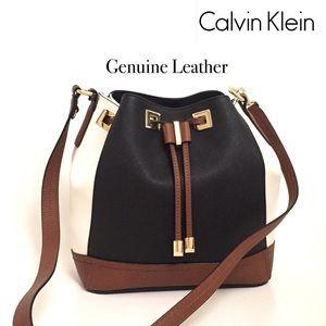 Calvin Klein Saffiano Leather Drawstring Bag