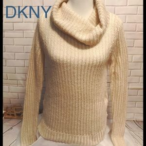 DKNY Jeans Striped Cowl Neck Mixed Texture Sweater