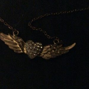 Fashion heart and wing necklace
