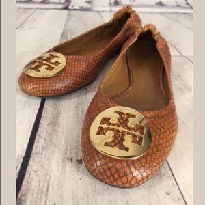 Tory Burch Reva Flats Brown Snake Skin Gold T logo