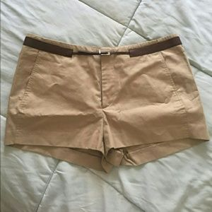 Gucci tan shorts with attached belt