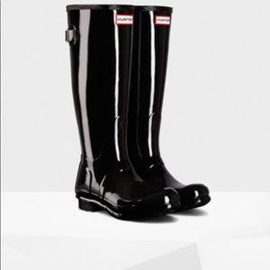 Black Gloss Hunter Rain Boots