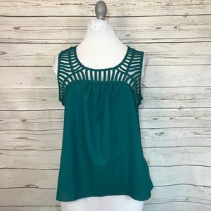 Forever 21 green cutout neckline Blouse Size Small
