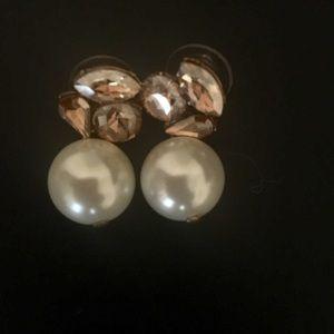 J. Crew crystal and pearl drop earrings