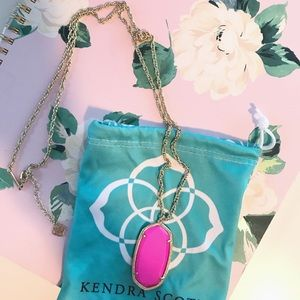 Gold & Hot Pink Kendra Scott Necklace.