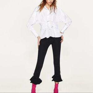 Zara white poplin blouse with belt